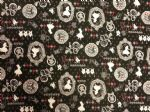 ALICE IN WONDERLAND - BLACK PLAYING CARDS - Fabric 100% Cotton - Price Per Metre